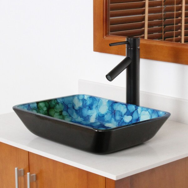 Hand Painted Watercolor Flat Bottom Glass Circular Vessel Bathroom Sink by Elite