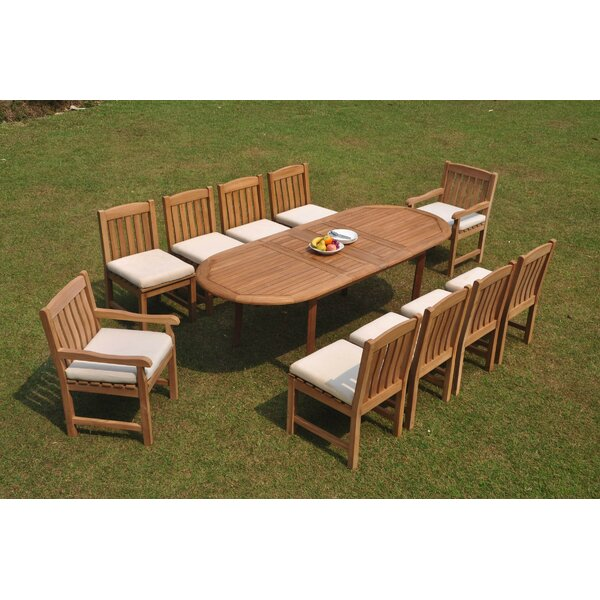 Riverton 11 Piece Teak Dining Set by Rosecliff Heights