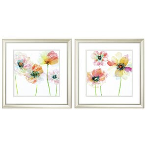 'Summer Fields' 2 Piece Framed Watercolor Painting Print Set by Latitude Run