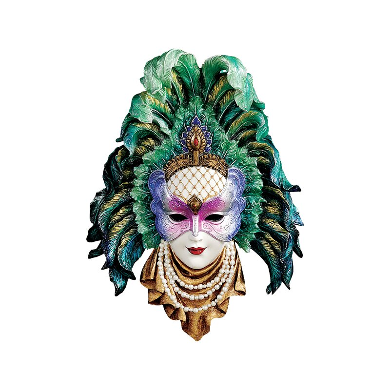 Design Toscano Maidens of Mardi Gras Peacock Princess Mask Wall ...