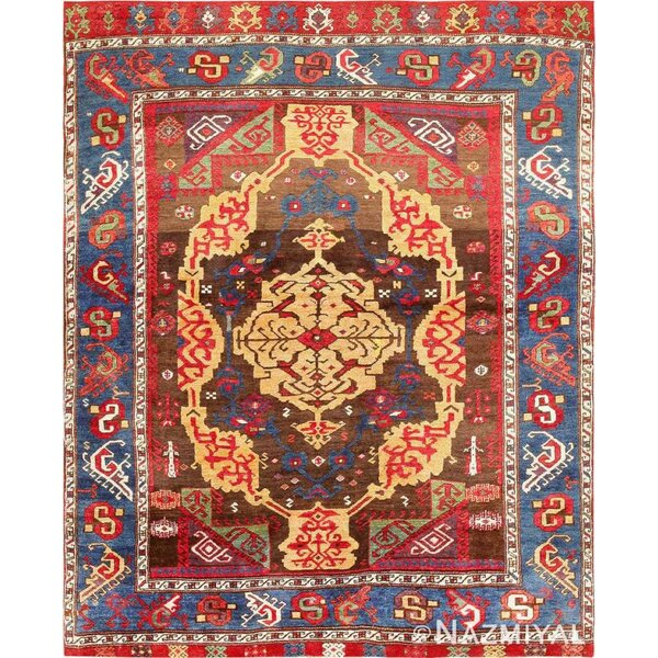 One-of-a-Kind Hand-Knotted Before 1900 Karapinar Red/Brown/Blue 4'9 x 5'10 Wool Area Rug