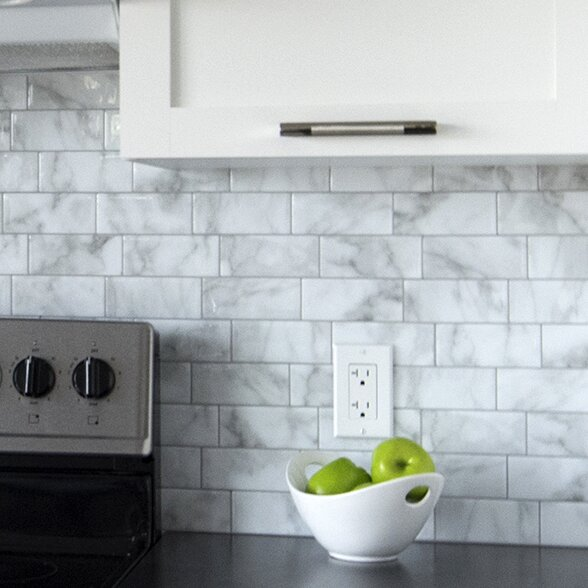 Metro Carrera 11.56 x 8.38 Peel & Stick Subway Tile in White and Gray by Smart Tiles