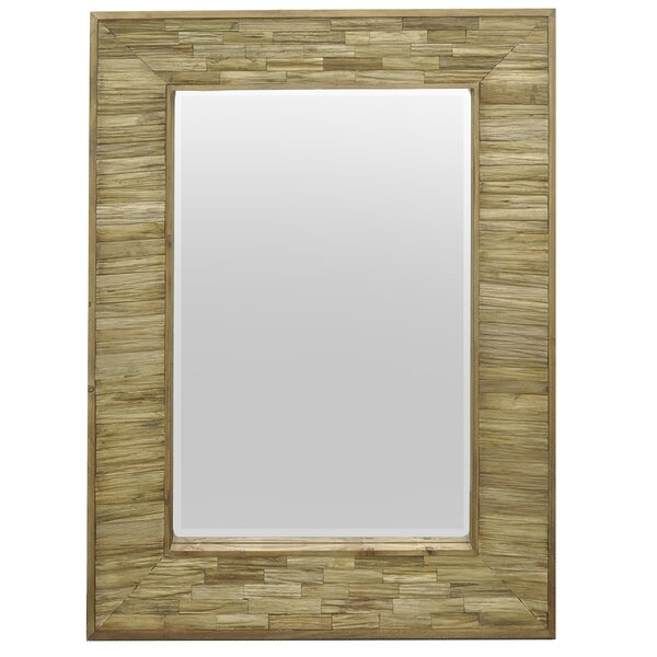 Wood Slatted Wall Mirror by Three Hands Co.