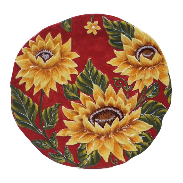 Whitfield Sunflower Platter by August Grove