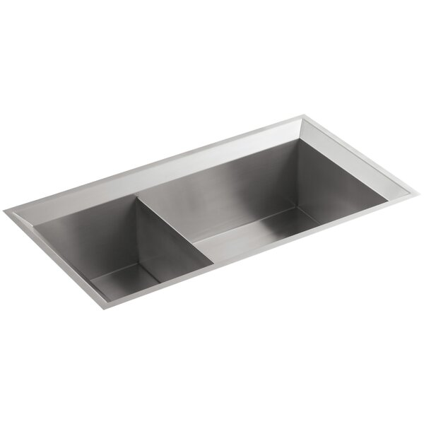 Poise 33 L x 18 W x 9-1/2 Under-Mount Large/Medium Double-Bowl Kitchen Sink by Kohler