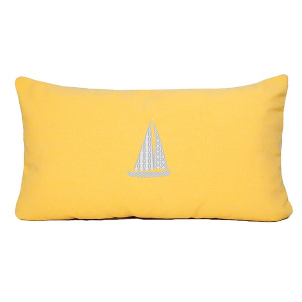 Hampden Sailboat Beach Outdoor Sunbrella Lumbar Throw Pillow by Beachcrest Home