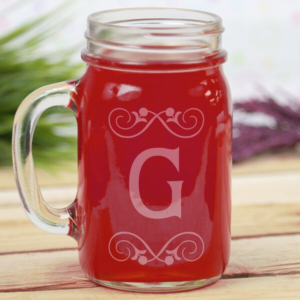 Personalized Initial Glass 16 oz. Mason Jar by Monogramonline Inc.