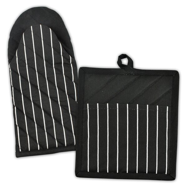 Striped 2 Piece Oven Mitt and Potholder Set by Design Imports