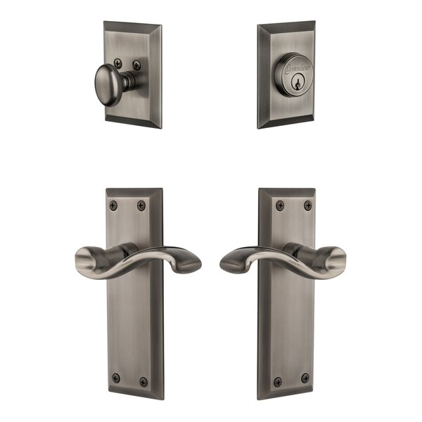 Fifth Avenue Single Cylinder Knob Handleset with Portfino Lever by Grandeur