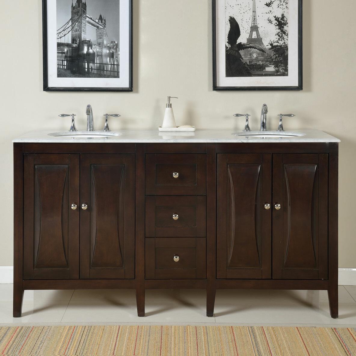 Silkroad Exclusive Double Bathroom Vanity Set Reviews Wayfair - Bathroom vanities coral springs fl
