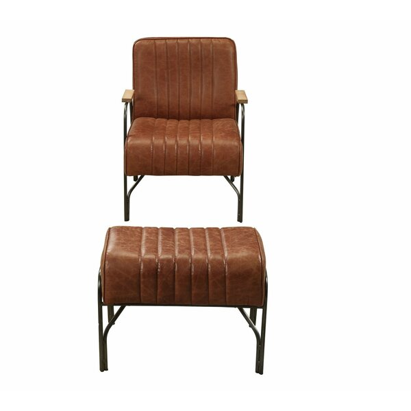Tonquin Leather Armchair and Ottoman by 17 Stories