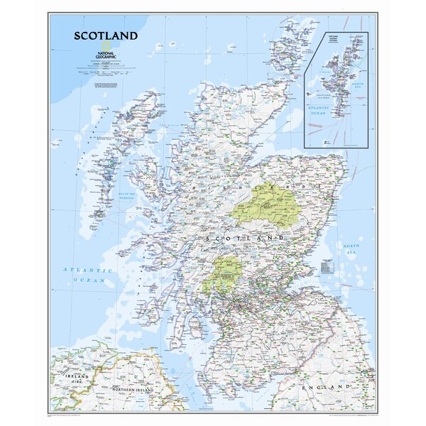Scotland Classic Wall Map by National Geographic Maps