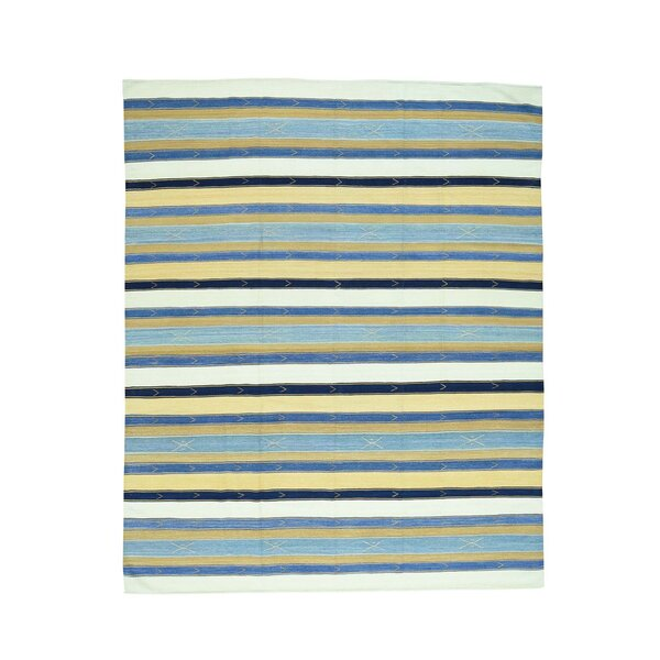 Striped Durie Kilim Flat Weave Hand-Knotted Blue/Yellow Area Rug by Bloomsbury Market