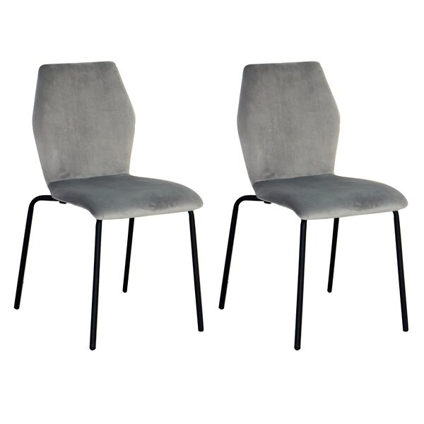 Isidoro Ash Velvet Dining Chair (Set Of 2) By Wrought Studio