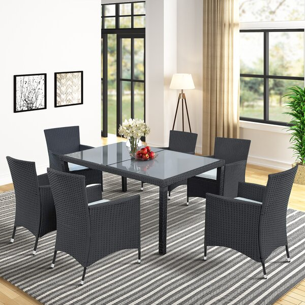 Spavinaw 7 Piece Patio Dining Set with Cushions by Ebern Designs