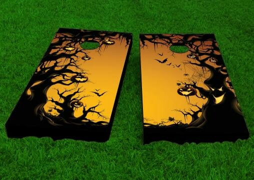 Scary Forest Halloween Theme Cornhole Game (Set of 2) by Custom Cornhole Boards