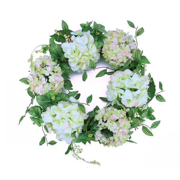 24 Hydrangea Flower Artificial Spring Floral Wreath by Northlight Seasonal