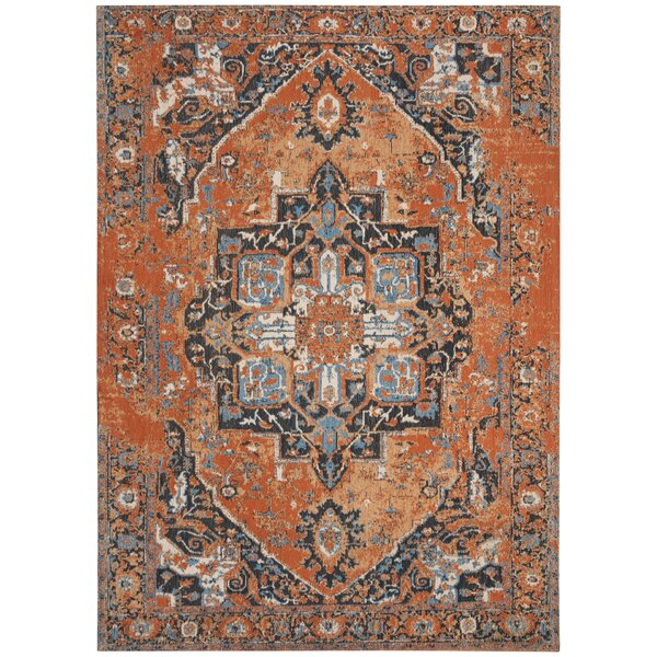 Chenault Orange/Navy Area Rug by Bungalow Rose