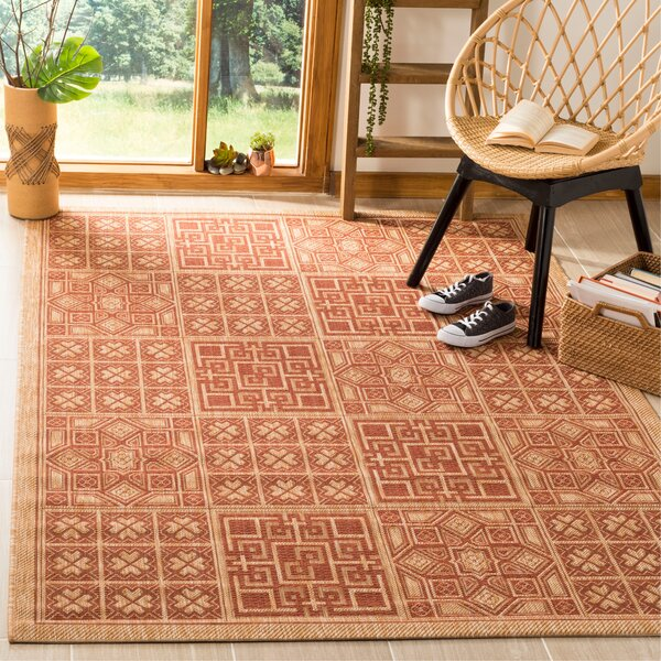Short Dark Brick Outdoor Rug by Winston Porter
