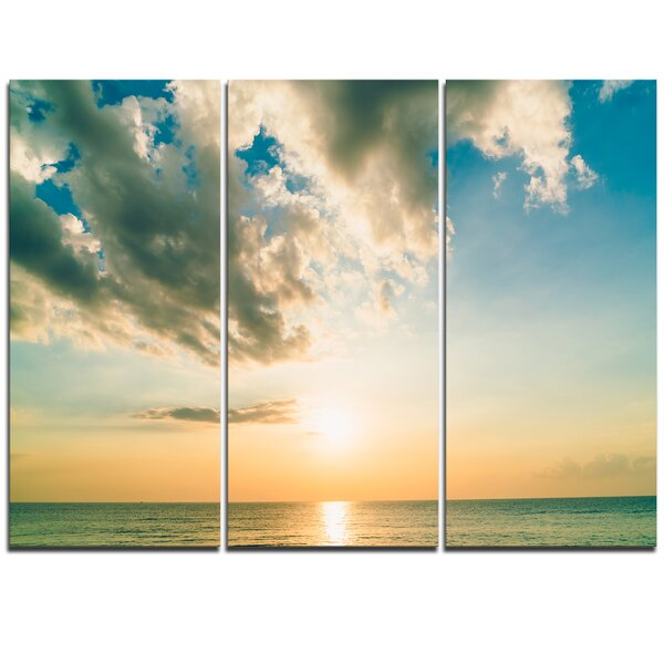 Clouds Together Over Blue Seashore - 3 Piece Photographic Print on Wrapped Canvas Set by Design Art