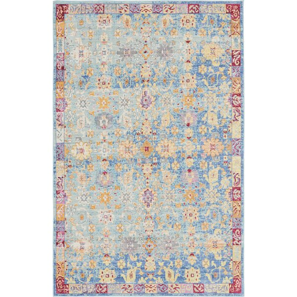 Carrico Oriental Blue Area Rug by Mercury Row