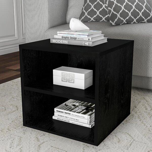 Review Turin Cube Floor Shelf End Table With Storage