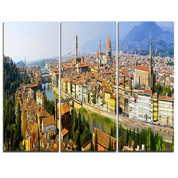 Florence Panoramic View - 3 Piece Photographic Print on Wrapped Canvas Set by Design Art