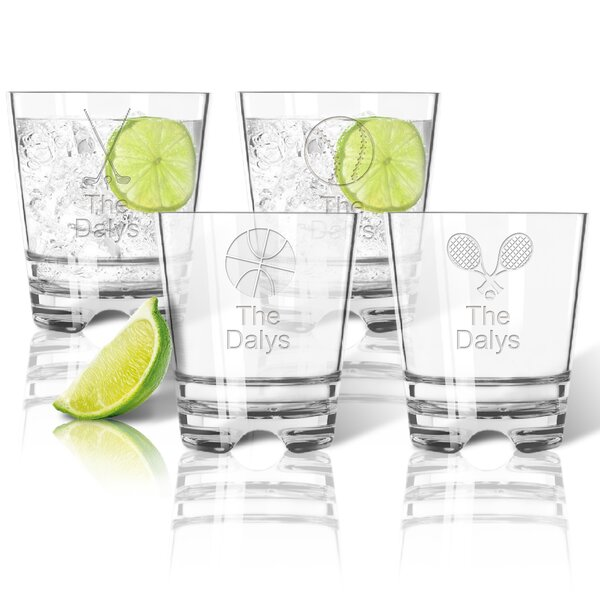 Tritan Sports 4 Piece 12 oz. Double Old Fashioned Glass Set by Carved Solutions