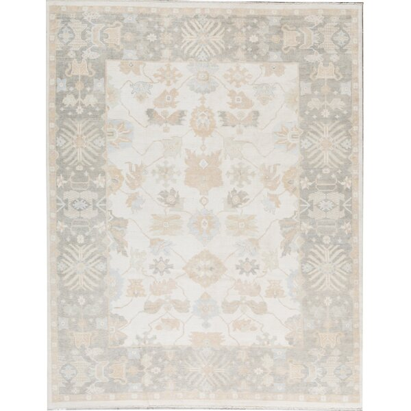 Oriental Hand-Knotted Wool Ivory/Charcoal Area Rug