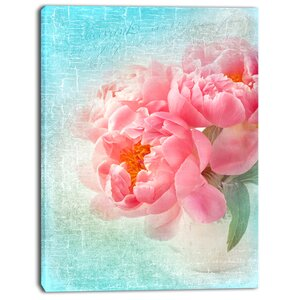 'Peony Flowers Merged to Blue' Photographic Print on Wrapped Canvas by Design Art