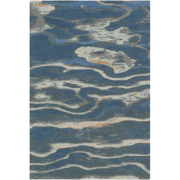 Borges Abstract Handmade Tufted Wool Navy/Sea Foam Area Rug