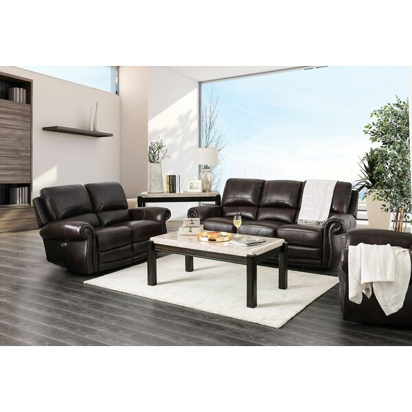 Brodhead Leather Reclining Sofa by Darby Home Co