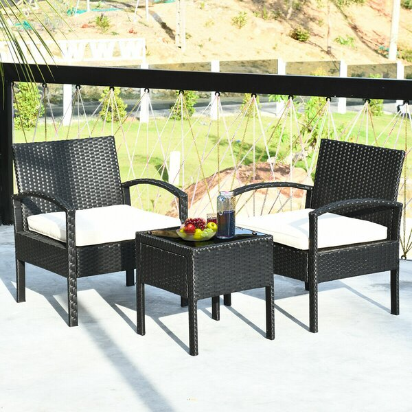 Pendrick 3 Piece Rattan Seating Group with Cushions by Latitude Run