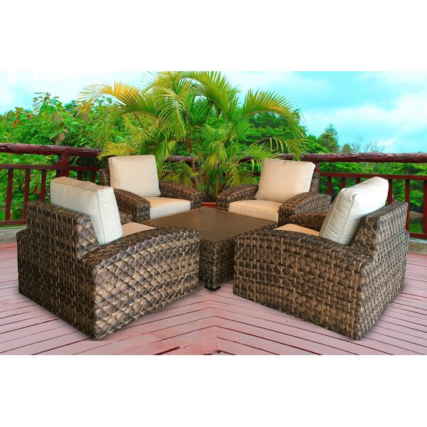 Lankford 5 Piece Sunbrella Conversation Set with Cushions by Bayou Breeze