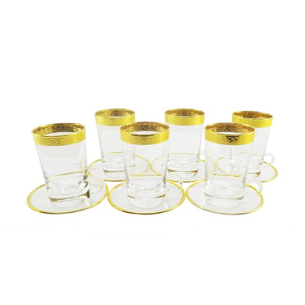 Tea/Demitasse Glasses with Rim Decoration (Set of 6) by Three Star Im/Ex Inc.