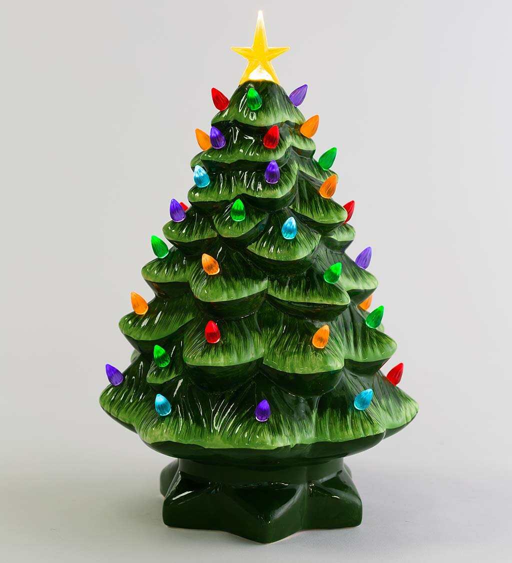 Ceramic Christmas Tree With Lights.Lighted Ceramic Christmas Tree