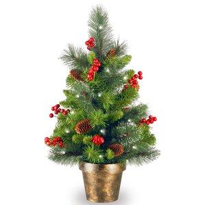 spruce small 2 green artificia christmas tree with 35 white lights with led - Small Christmas Tree With Lights