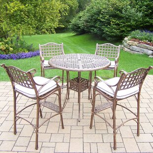 Thelma 5 Piece Bar Height Dining Set with Cushions By Astoria Grand