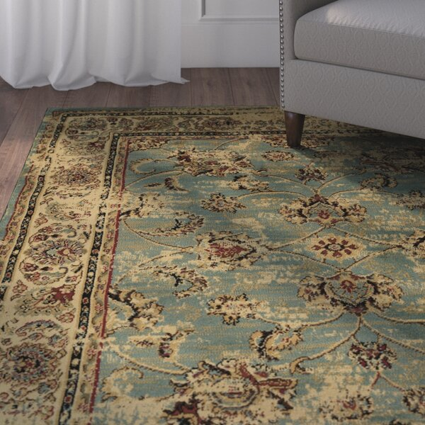 Lamberth Distressed Floral Light Blue Area Rug by Charlton Home