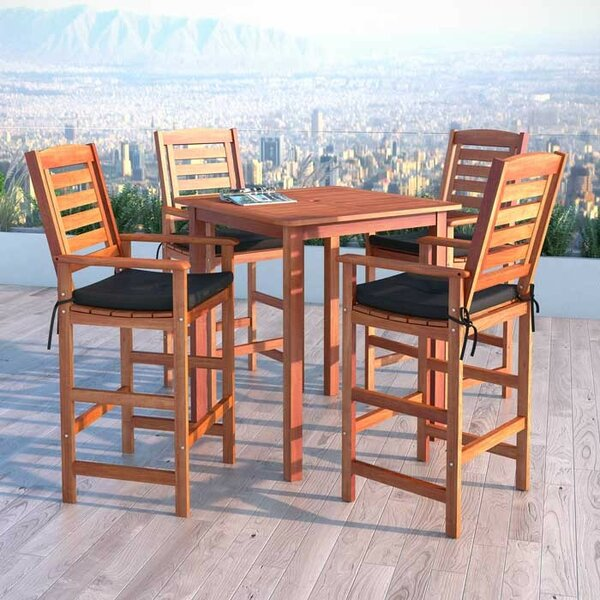 Folse 5 Piece Bar Height Dining Set with Cushions by Brayden Studio