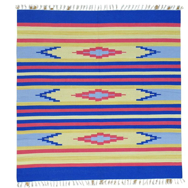 One-of-a-Kind Tomberlin Flat Weave Southwestern Killim Hand-Knotted Cotton Blue/Yellow Area Rug by Millwood Pines