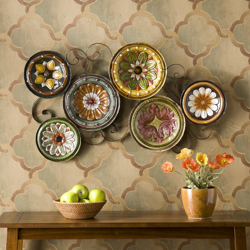 Three Posts Scattered Metal Italian Plates Wall Décor & Reviews ...
