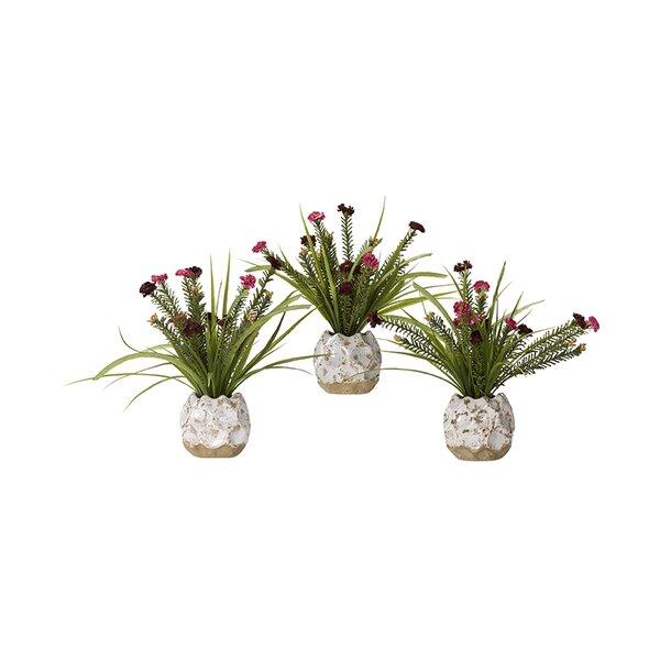 Wildflower Floral Arrangement in Ceramic Planter (Set of 3) by World Menagerie