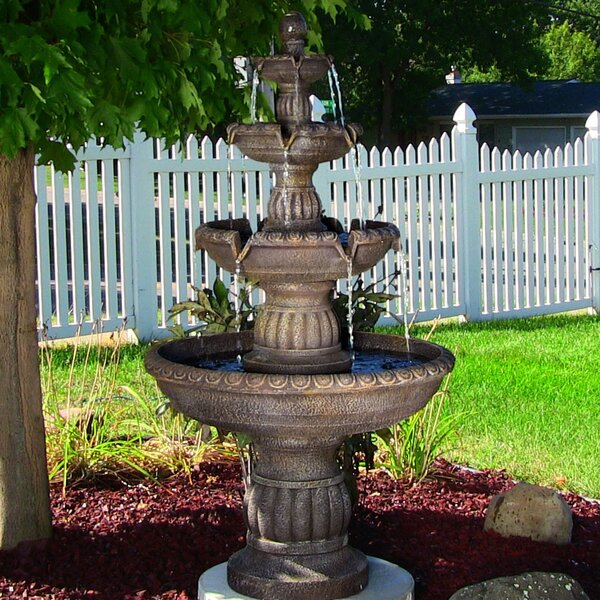 Fiberglass/Resin Mediterranean 4 Tiered Outdoor Water Fountain by Wildon Home ®