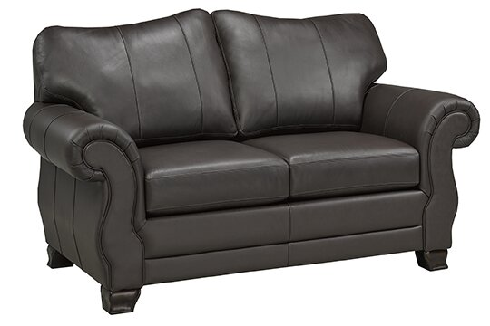 Jettie Italian Leather Loveseat by Fleur De Lis Living