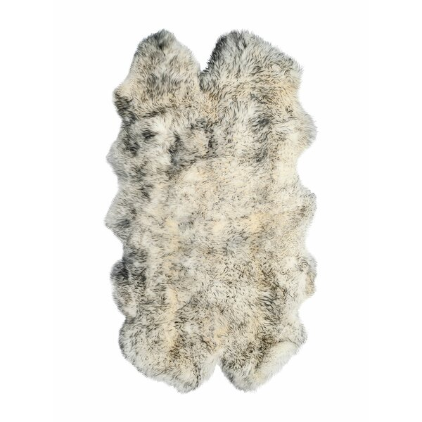 Oma Hand-Woven Sheepskin Gradient Gray Area Rug by Rosdorf Park