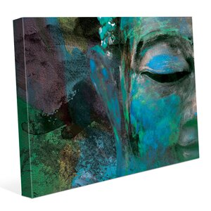'Turquoise Painted Buddha's Face' Graphic Art Print on Canvas by Bloomsbury Market