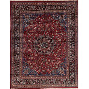 One-of-a-Kind Mitton Traditional Mashad Persian Hand-Knotted 9'7 x 12'5 Wool Burgundy/Blue Area Rug by Isabelline