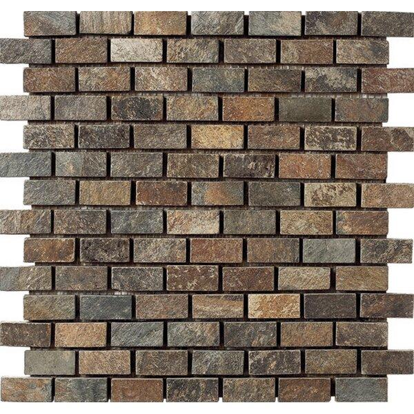 Mini Brick 12 x 12 Slate Mosaic Tile in Brown by Kertiles