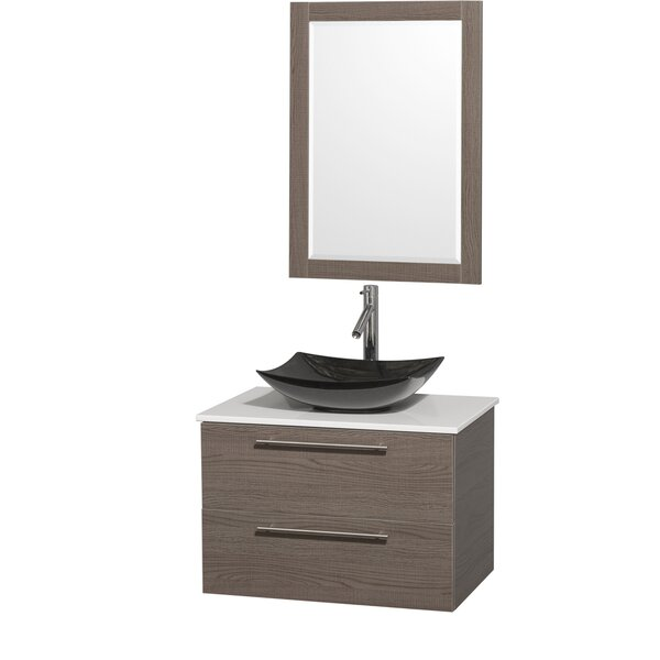 Amare 30 Single Gray Oak Bathroom Vanity Set with Mirror by Wyndham Collection